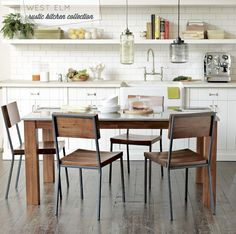 Modern meets rustic-industrial kitchen rustic industrial, kitchen tables, industrial kitchens, dining chairs, rustic kitchens, kitchen dining, subway tiles, dining tables, west elm