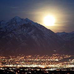 Moonrise over Salt Lake City. 7 Feb 2012.