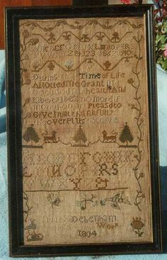 Mary Debenham c1804 kind antiqu, antiqu sampler