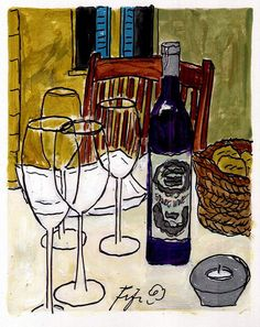 French Bread and Wine by Fifi Flowers