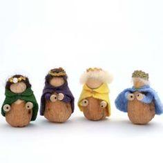 idea, christmas crafts, live craft, felt, walnut, gnomes, craft blogs, nativity scenes, craft rooms