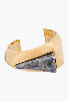 CHLOE Gold-Tone Natural Stone & Brass Bettina Cuff