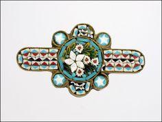 Italian Circa 1900 Micro-Mosaic Flower Pin