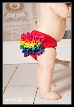Rainbow Ruffle Diaper Cover Bloomer Baby by BloominBloomers, $25.00