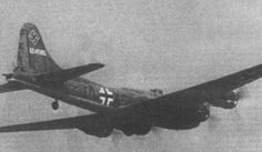 """The first Boeing B-17 Flying Fortress bomber operated by German forces, in KG 200 markings. This B-17F-27-BO (41-24585; PU-B) was crash-landed near Melun, France by a crew from the 303d Bombardment Group on December 12, 1942 and repaired by Luftwaffe ground staff.[6] Its USAAF nickname, """"Wulfe Hound"""", is frequently misspelled."""