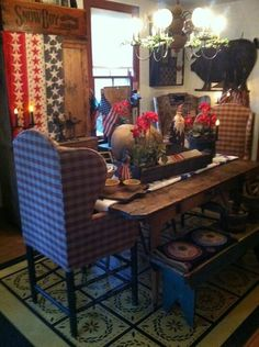 dining rooms, floorcloth, idea, dine room, dining chairs, red white blue, gorgeous patriot, countri, patriot dine