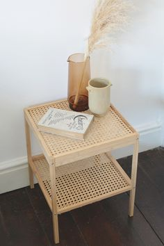 rattan bedside table IKEA hack