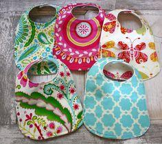 FREE SHIPPING  5 Baby Girl Baby Bibs, Modern Baby,Kumari Garden/Sascha Pink Tarika Blue Jeevan Pink Sanjay Blue Teja Pink on Etsy, $30.95