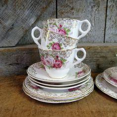 Vintage Floral China Tea Set
