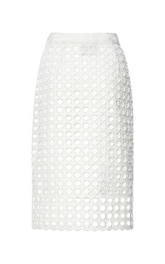 White Giant Eyelet Pencil Skirt by Sea for Preorder on Moda Operandi