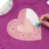 Darling Heart Shirt using doily as stencil!
