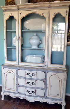 French China Cabinet Hutch White Gray Blue Gold Distressed MADE TO ORDER