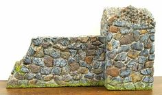 faux stone wall - made from carved, painted foam - tutorial  ********************************************   Reaper Miniatures - #miniature #dollhouse #fairy #garden #stone #wall hh