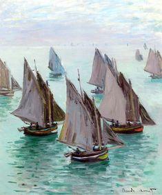 Claude Monet | Fishing boats, calm weather, 1868