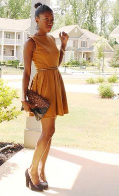 burnt orange dress + cute heels    Re-Pinned by: http://high5collegeclub.com