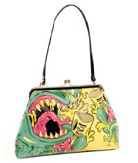 want folter monster, handbags, accessori, handbag satchel, kiss lock, monster kiss, purs handbag, monster bag, monsters