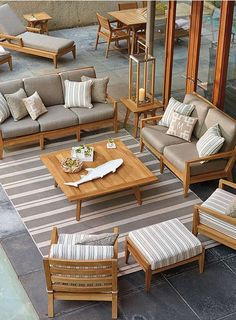 Grace your outdoor space with all natural teak and the sleek, plush cushions of the Peyton Seating; a collection so comfortable, it will quickly become your favorite place to relax.