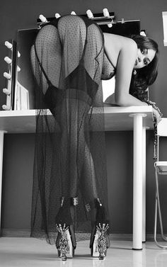 Stockings, heels and sheer negligee