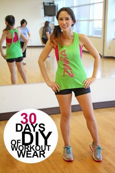 How to make a cute workout tank from an old t-shirt. 30 Days of DIY Workout Wear.