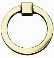 3 Inch Mission Style Solid Brass Ring Pull (Polished Brass Finish)