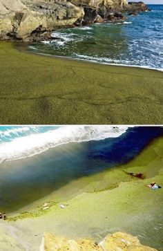 Papakolea Beach is a green sand beach located at South Point, in the Kau district of the Island of Hawaii. One of only two green sand beaches in the world, the other being in Guam, the beach gets distinctive coloring from olivine crystals found in a nearby cinder cone.