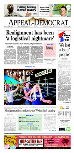 Appeal-Democrat front page for Monday, July 29, 2013.