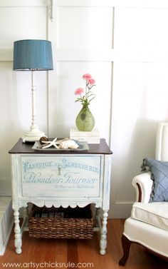 French Styled Cabinet Makeover {Graphics & Chalk Paint} (used to hide the cable box, etc)