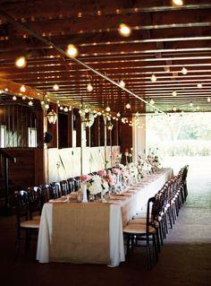Decor Brown rustic wedding burlap runner long table pink flowers white hydrangeas twinkle lights barn