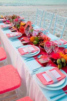 wedding tables, table settings, beaches, reception decorations, receptions, beach weddings, coral weddings, outdoor weddings, bright colors