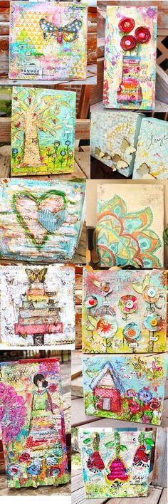 mixed media canvases - ChristyTomlinson + she has tutorials. I love her style....she's so fun!