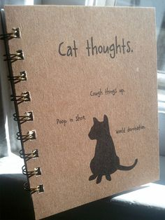 Spiral note book  Cat Thoughts  funny notebook by WryAndGinger