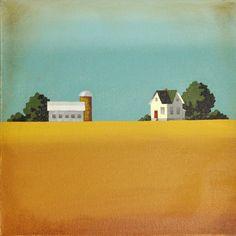 Original Painting - Modern Farmhouse - Minimal Farm Painting by Nancy Jean Tobin- 12 x 12 - Free Shipping. 150.00, via Etsy. thePaintedSky