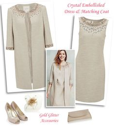 Beaded Nude Shift Dress and Matching Swing Coat