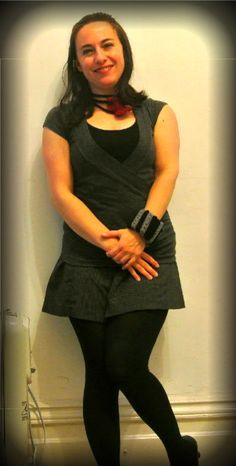 Black and grey basic outfit accessorized with crochet necklace and cuff bracelet.