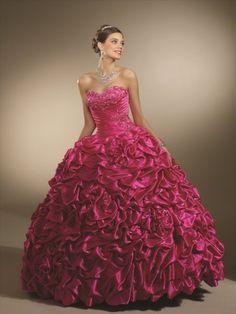 (NO.0245484 )2012 Style Ball Gown Sweetheart  Hand-Made Flower Sleeveless Floor-length Taffeta Fuchsia Prom Dress / Evening Dress