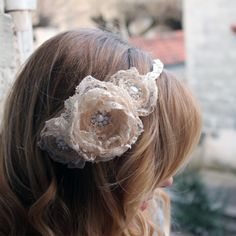 Vintage Lace Flower Headband at www.lolaandi.com