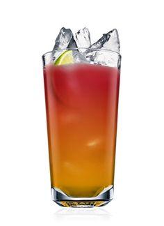 Malibu Seabreeze - 1 Part Malibu Rum, 1 Part Pineapple Juice, 1 Part Cranberry Juice, 1 Wedge Lime