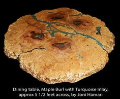 Custom Made Maple Burl Table With Turquoise Nugget Inlay