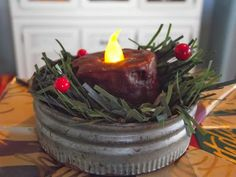 Make vintage canning jar lid tea light Christmas ornaments, by Country Mom At Home featured on www.ilovethatjunk... canning jar, at home, jar lid, light ornament, countri mom, hang tea, christmas ornaments, primit craft, tea lights