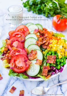 BLT Chopped Salad with Homemade Creamy Buttermilk Ranch Dressing @Averie Sunshine {Averie Cooks} Sunshine {Averie Cooks} Sunshine {Averie Cooks} Sunshine {Averie Cooks}