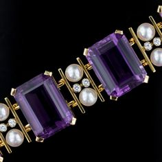 Amethyst, Cultured Pearl and Diamond Bracelet.