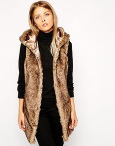 ASOS Faux Fur Gilet With Hood