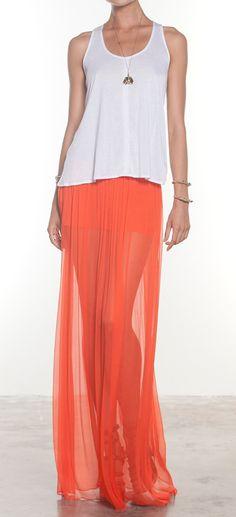 Lovin the coral maxi skirt!
