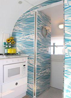Nautical wallpaper in a mini trailer