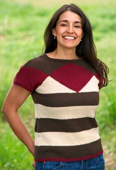 Featuring a bold diamond pattern around the yoke, this simple sweater will look great in any season. You will only need a basic knowledge of intarsia to create this colorwork knit tee.