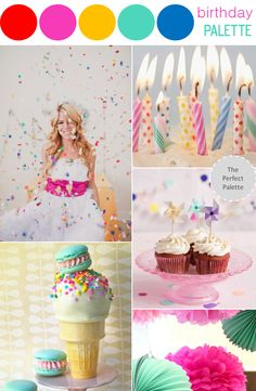 Birthday Palette | Cupcakes, Candles + Confetti http://www.theperfectpalette.com/2013/05/color-story-birthday-palette.html