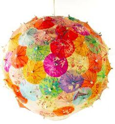 paper umbrella's covering paper globe lantern, diy crafts, light fixtures, summer parties, paper lamps, drink, umbrella, lampshad, cocktail