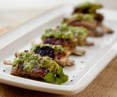 Slow Roasted Lamb Ribs served with a homemade Jalapeno Mint Sauce