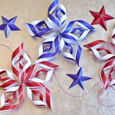 Patriotic 3D Star Printable from Ellinee