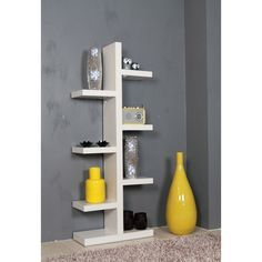 Cool white shelf with several shelves.